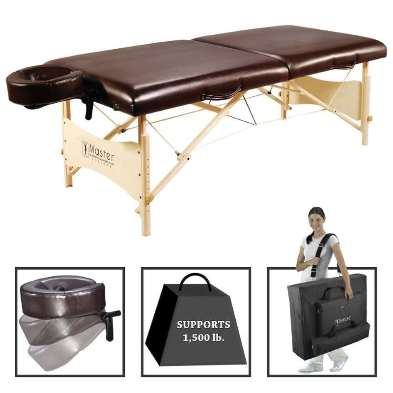 "MasterMassage 30"" Balboa Portable Massage and Exercise Table Beauty Bed in Brown Luster w/Light Natural wood"
