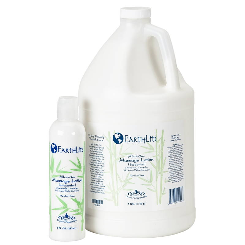 Image of both sizes of All-In-One massage lotion by Earthlite