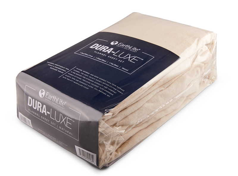 Dura-Luxe 3 piece flannel sheet set package in natural