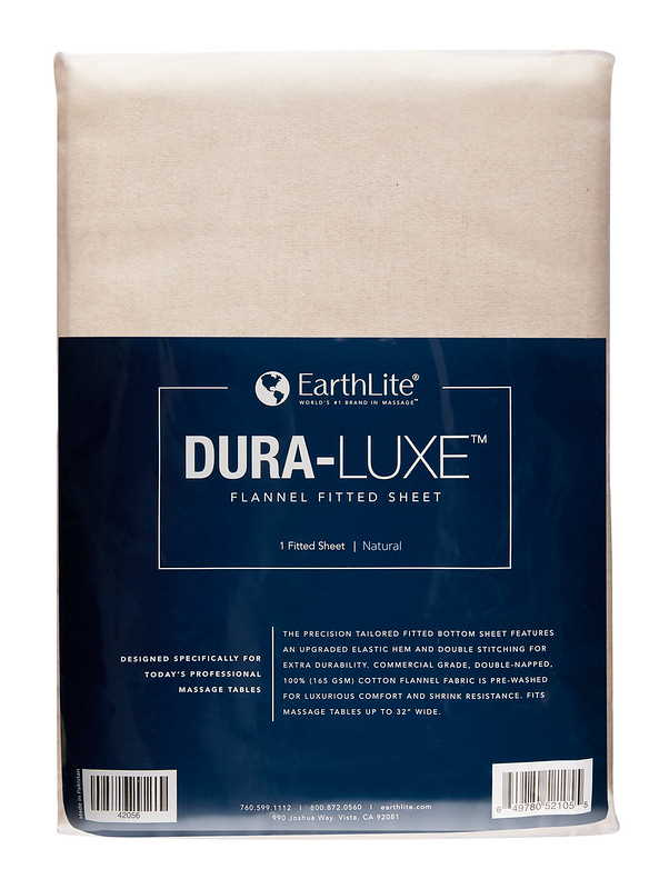 Dura-Luxe flannel fitted sheet in Natural, for massage tables.