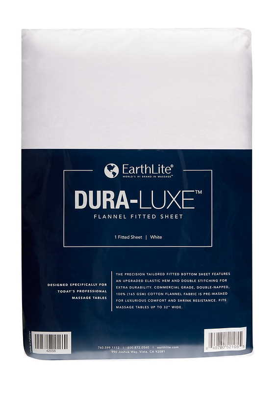 Earthlite Dura-Luxe fitted flannel massage table sheets.