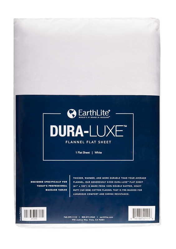Earthlite Dura-Luxe flat flannel massage table sheet in white.