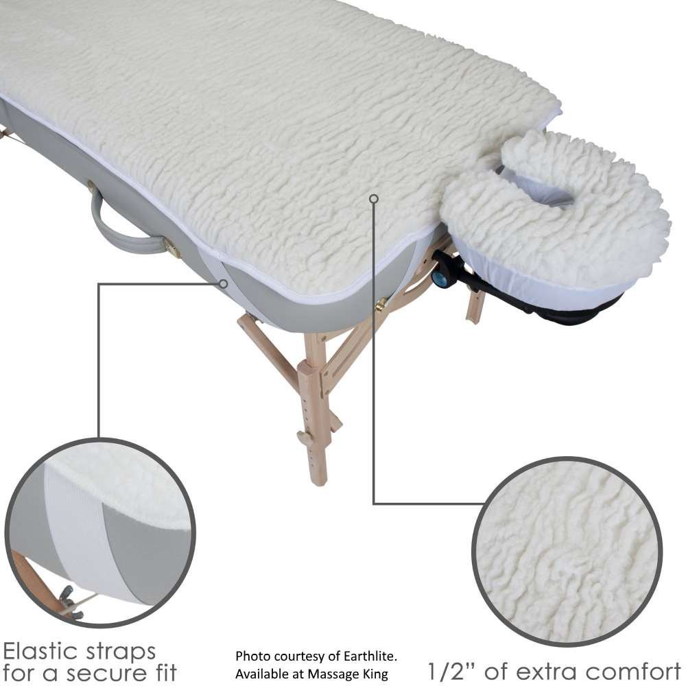 Image of fleece pad for massage table showing features