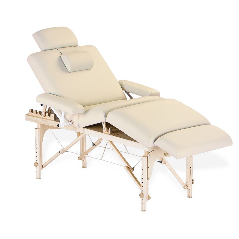 EarthLite Calistoga Portable Salon Table showing with included accessories in vanilla cream color.