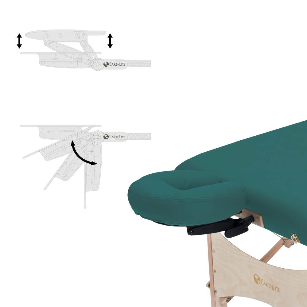 Harmony massage table features a deluxe adjustable headrest platform and cushion
