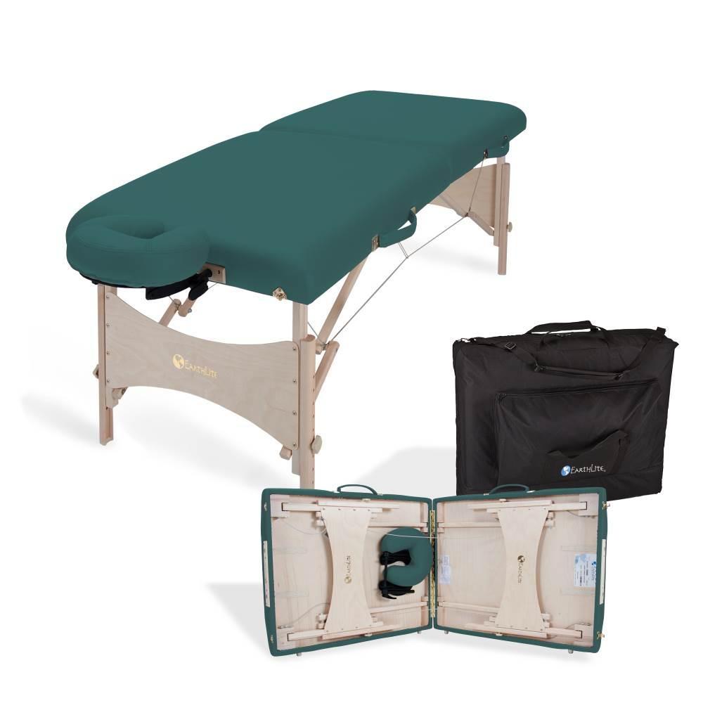 Earthlite Harmony DX portable massage table package and packing detail.
