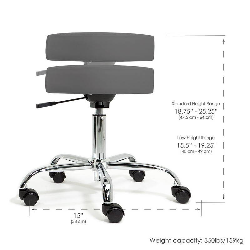 Picture of the height range of the Earthlite rolling massage stool standard edition.