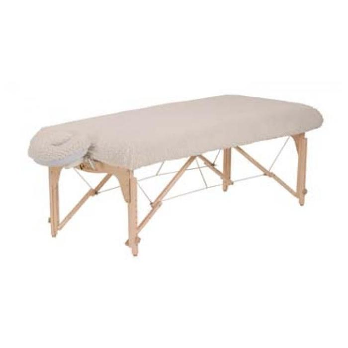 Picture of the fleece table pad set on a portable massage table