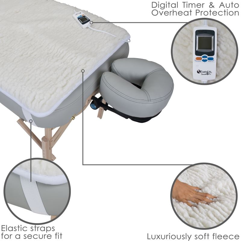 Earthlite Samadhi Pro massage table warmer features soft thick fleece, straps, and digital controls