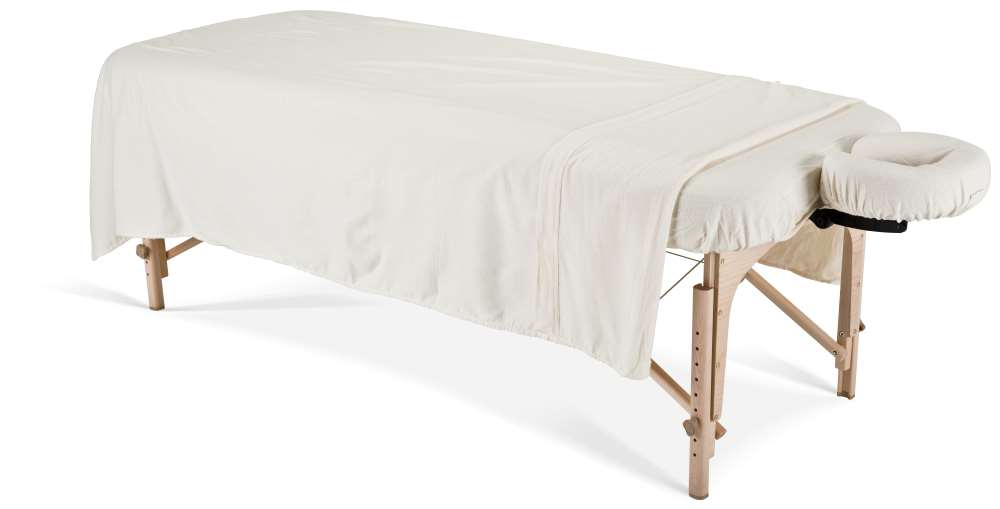 Flannel sheet set on a massage table image