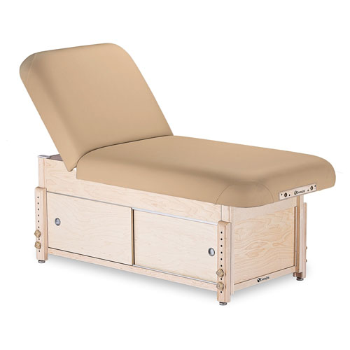 EarthLite Sedona Stationary Massage Table - Earthlite Sedona stationary massage table is classic elegance. Shown with optional base shelf.
