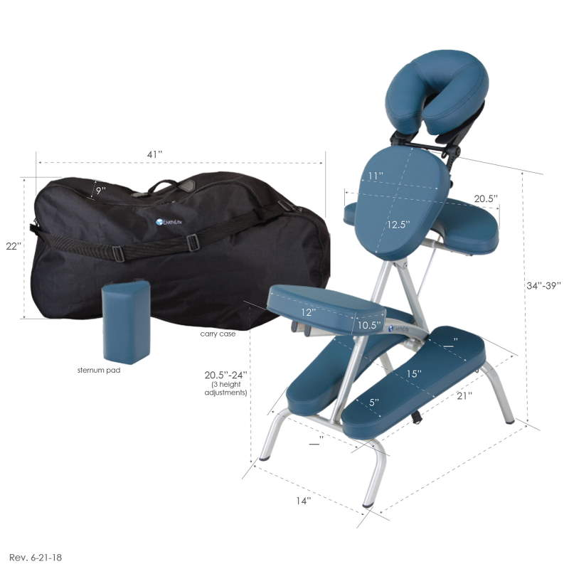 Earthlite Vortex portable massage chair dimensions