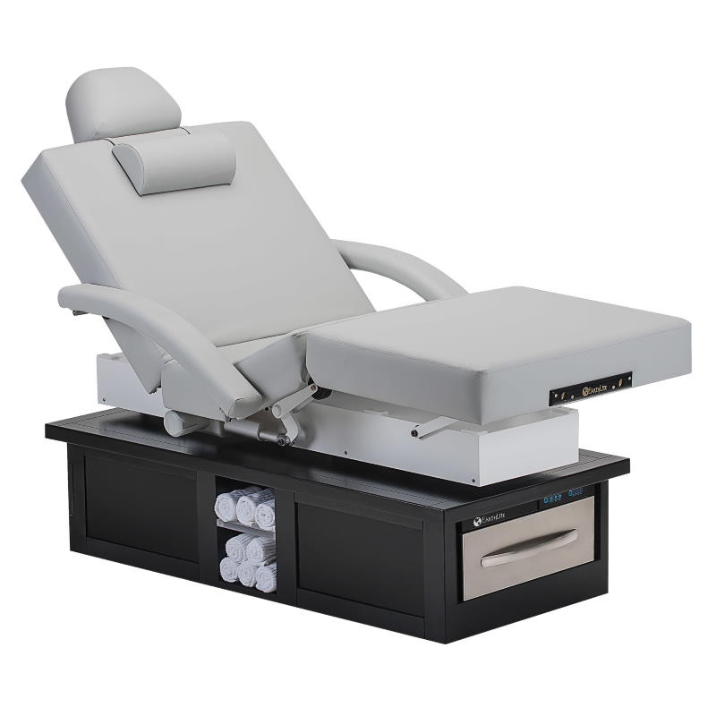 Earthlite Eclipse Salon Table showing optional warming drawer.
