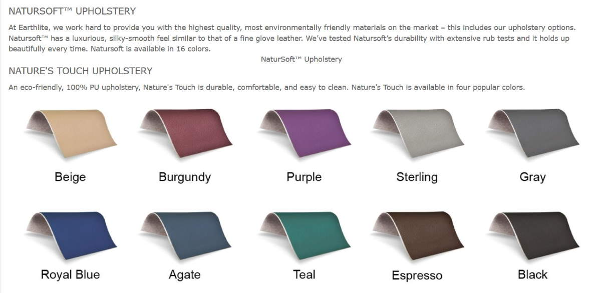 Everest Eclipse Upholstery Colors chart for Earthlite spa tables