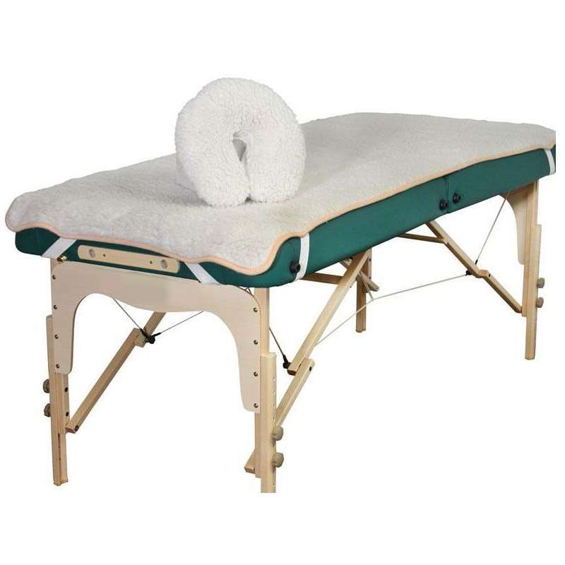 Image of fleece table pad set for portable massage tables