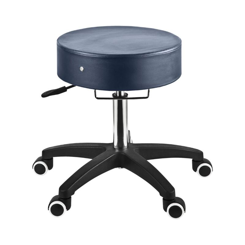 MasterMassage Glider Adjustable Rolling Stool in Royal Blue with Chrome Grab Bar for Salon,Beauty, Home and office use.