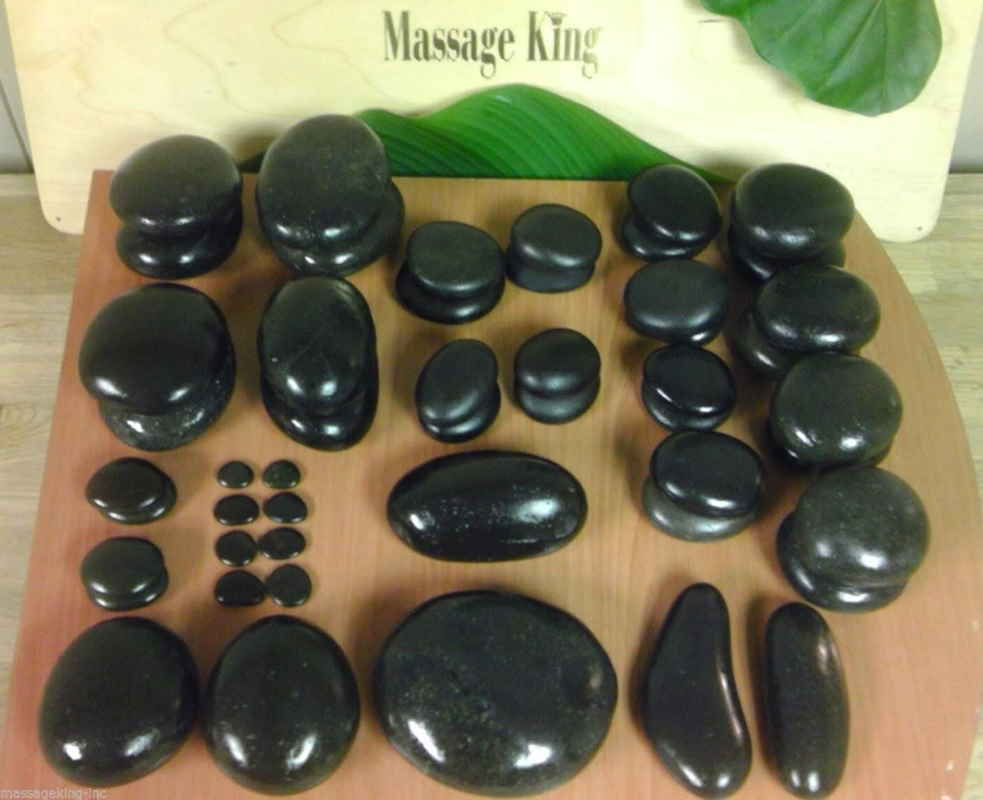 Hot Stone Massage Set 50 pieces - Hot stone set with large, medium, small, toe, trigger, facial, & palm stones. Perfect!