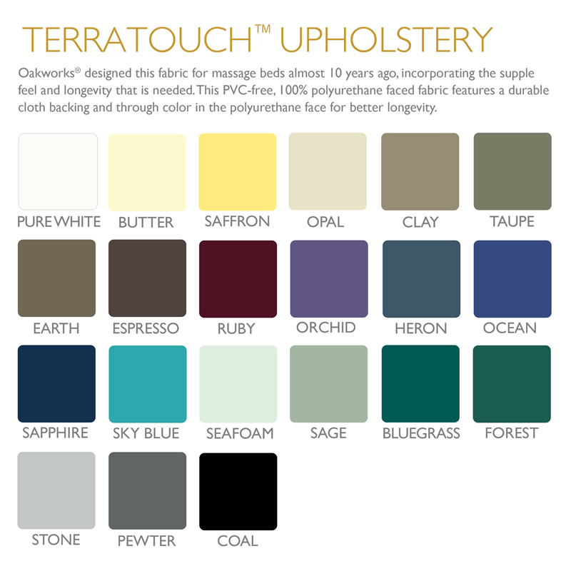 Picture of Oakworks Terratouch fabric colors for their massage therapy products.