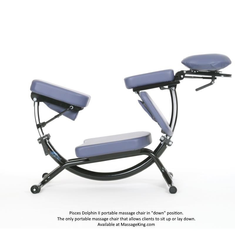 Dolphin II massage chair in the down position and is the only chair that lays flat.