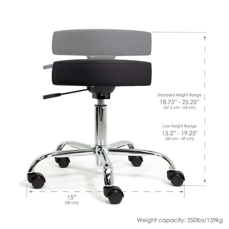 Earthlite pneumatic rolling stool with adjustable height
