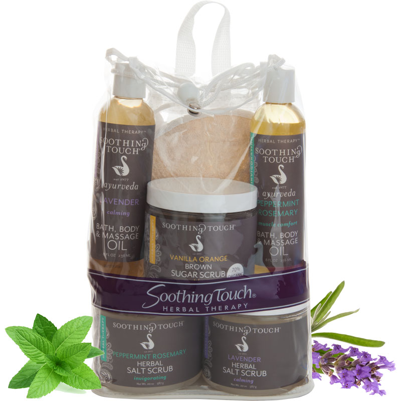 Soothing Touch Spa Success Kit - A great gift idea with 2 massage oils and 2 salt scrubs!