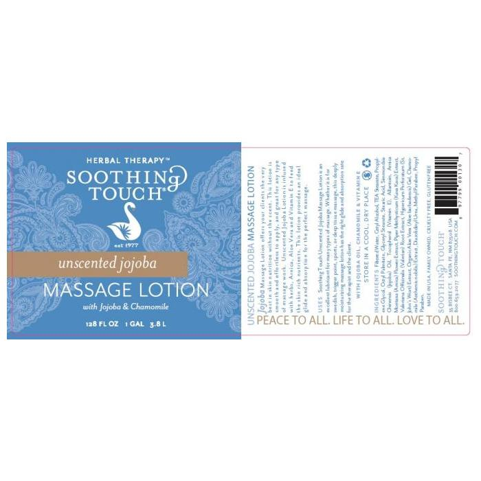 Unscented Jojoba massage lotion close up label picture