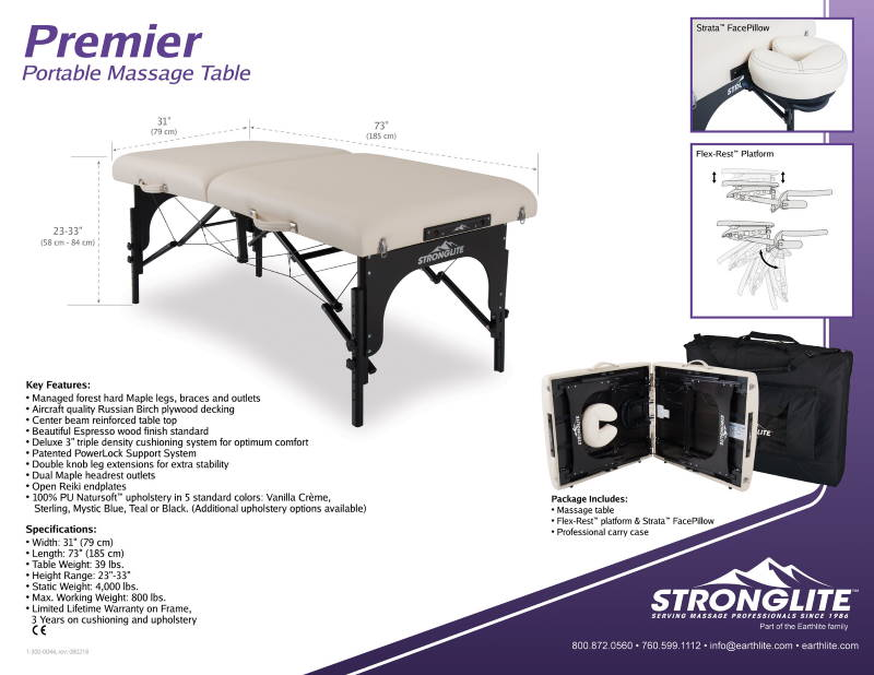 Picture of Stronglite massage table package details