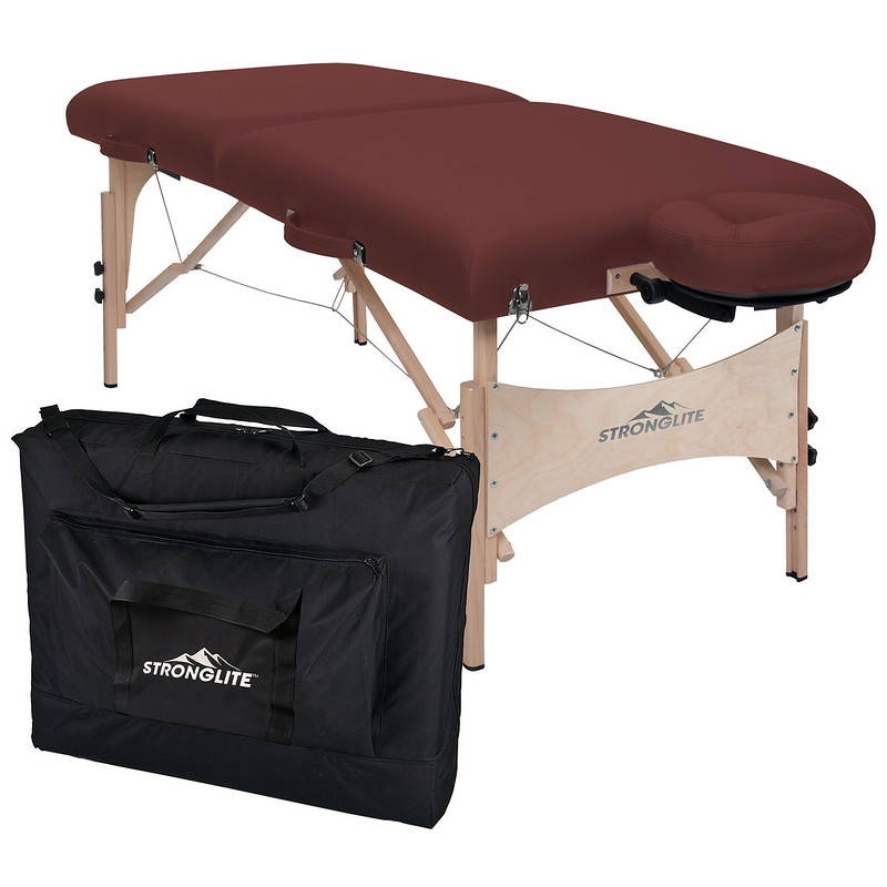 Stronglite Classic Deluxe portable table package in Burgundy