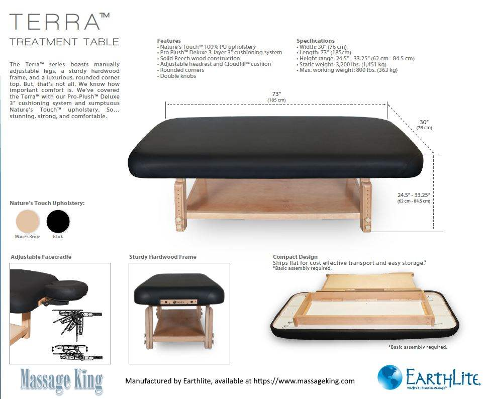 Earthlite Terra treatment table information and specifications