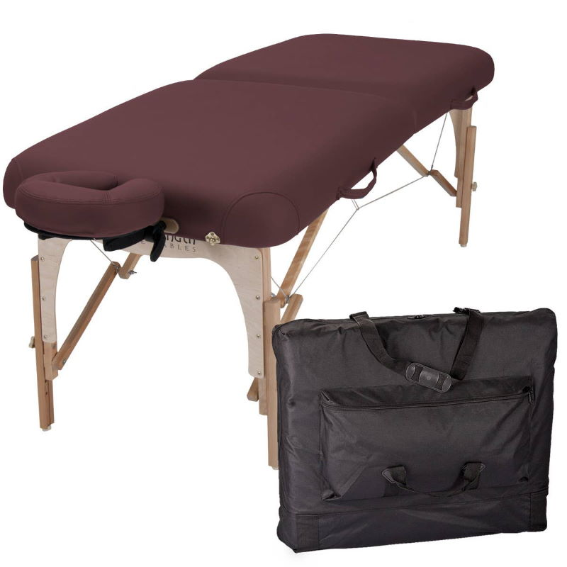e2 portable massage table package by Inner Strength, in Burgundy upholstery
