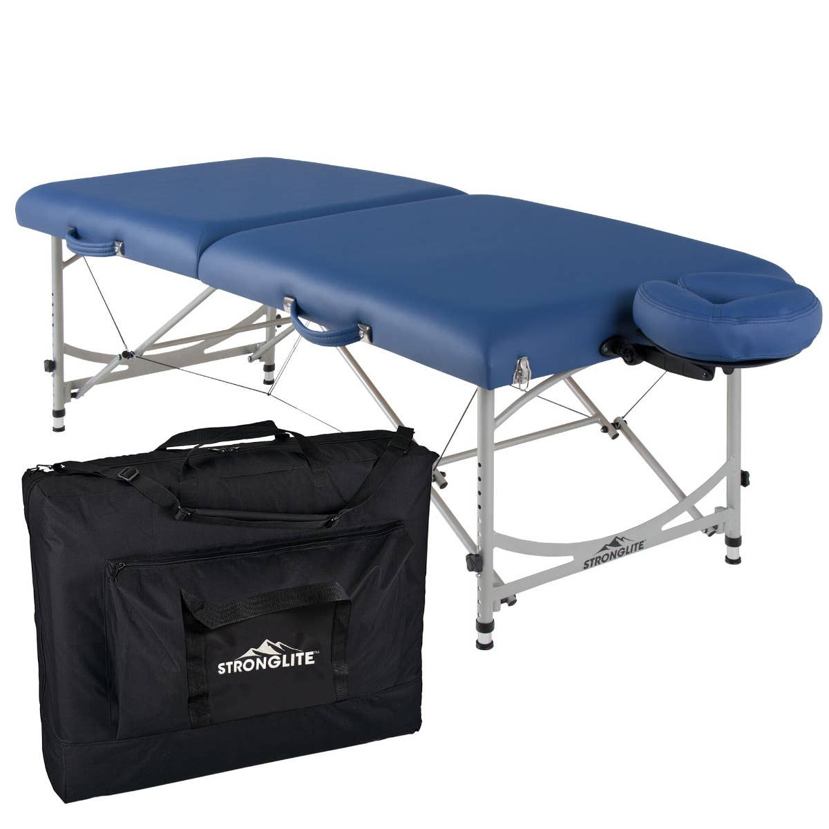 Versalite Pro aluminum light weight portable massage table by Stronglite, in Royal Blue color