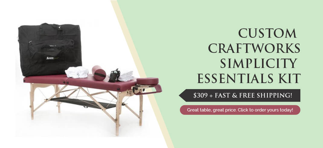Custom Craftworks Simplicity portable massage table package