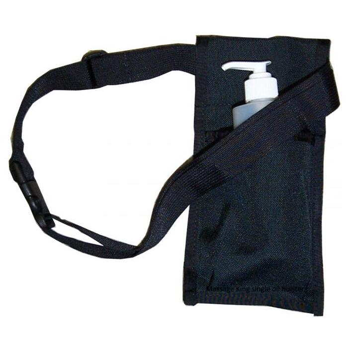 Single Oil Holster - Massage oil holster made with heavy duty nylon. Shows optional 8oz oil bottle and pump
